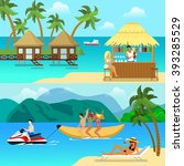 flat style tropical resort... | Shutterstock .eps vector #393285529