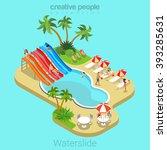 waterslide flat 3d isometric... | Shutterstock .eps vector #393285631