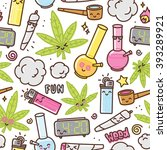marijuana kawaii cartoon... | Shutterstock .eps vector #393289921