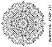 flower mandalas. vintage... | Shutterstock .eps vector #393294154