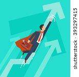 businessman in a suit superhero ... | Shutterstock .eps vector #393297415