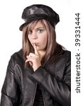girl in black with finger by... | Shutterstock . vector #39331444