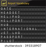 airport vocabulary on airport... | Shutterstock .eps vector #393318907