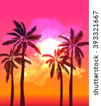 palm silhouettes on summer... | Shutterstock .eps vector #393321667