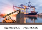 forklift handling container box ... | Shutterstock . vector #393325585