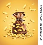 gold coins falling down and... | Shutterstock .eps vector #393358231