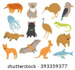 australian animals set. cartoon ... | Shutterstock .eps vector #393359377