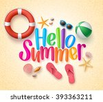 hello summer in the sand... | Shutterstock .eps vector #393363211