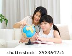 asian mother and daughter... | Shutterstock . vector #393364255