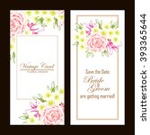invitation with floral... | Shutterstock .eps vector #393365644