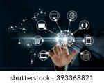 hands touching circle global... | Shutterstock . vector #393368821