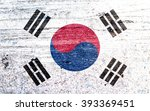 south korea flag on vintage...   Shutterstock . vector #393369451