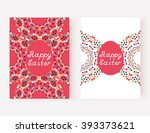 happy ester set of cards with... | Shutterstock .eps vector #393373621