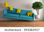 zero gravity sofa hovering in... | Shutterstock . vector #393382927