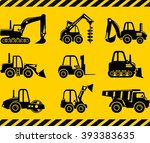 set of silhouette toys heavy... | Shutterstock .eps vector #393383635