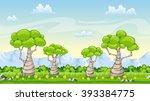 cartoon summer landscape | Shutterstock .eps vector #393384775