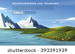 mountaineering and traveling... | Shutterstock .eps vector #393391939