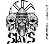 slavs coat of arms with skull ... | Shutterstock .eps vector #393394675