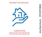 house in hand vector icon. real ... | Shutterstock .eps vector #393395881