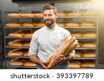 handsome baker in uniform... | Shutterstock . vector #393397789