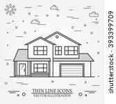vector thin line icon  suburban ... | Shutterstock .eps vector #393399709