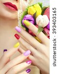 colorful manicure bouquet candy ... | Shutterstock . vector #393403165