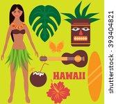 luau party design elements ... | Shutterstock .eps vector #393404821
