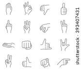 hand gestures. human hands show ... | Shutterstock .eps vector #393407431