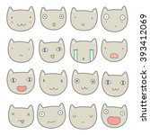 set of cute cats emoji. vector... | Shutterstock .eps vector #393412069