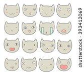 set of cute cats emoji. vector... | Shutterstock .eps vector #393412069