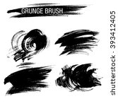 vector set of grunge brush... | Shutterstock .eps vector #393412405