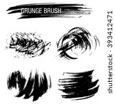 vector set of grunge brush... | Shutterstock .eps vector #393412471