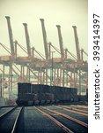 seattle  wa   aug 14  crane... | Shutterstock . vector #393414397