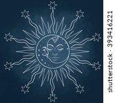 sun and moon. vector... | Shutterstock .eps vector #393416221