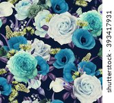 seamless floral pattern with...   Shutterstock . vector #393417931