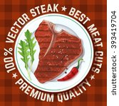 beautiful vector steak served... | Shutterstock .eps vector #393419704