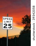 speed limit sign on sunset | Shutterstock . vector #39342058