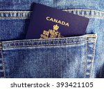 blue jean pocket with canadian... | Shutterstock . vector #393421105