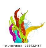 colored paint splash  isolated... | Shutterstock . vector #393422467