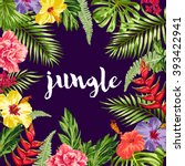 summer card with exotic flowers ... | Shutterstock .eps vector #393422941
