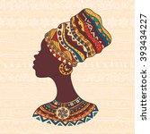 african woman in a turban head | Shutterstock .eps vector #393434227