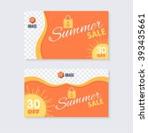 wave style summer sale concept... | Shutterstock .eps vector #393435661