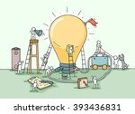 sketch of lamp idea... | Shutterstock .eps vector #393436831