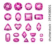 set of realistic pink jewels.... | Shutterstock .eps vector #393438001