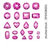 set of realistic pink jewels....   Shutterstock .eps vector #393438001