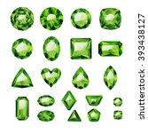 set of realistic green jewels.... | Shutterstock .eps vector #393438127