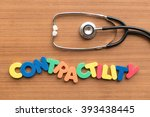 Small photo of contractility colorful word on the wooden background