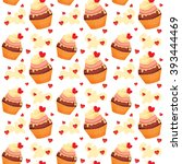 seamless pattern with cupcakes... | Shutterstock .eps vector #393444469