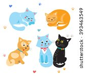 Stock vector cartoon cute cats vector set various kittens on white background sleeping and sitting cat 393463549