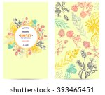 vector vintage cards with hand... | Shutterstock .eps vector #393465451